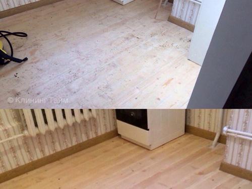 Результат чистки пола после проведения ремонта