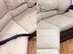 Результат химчистки белого углового дивана