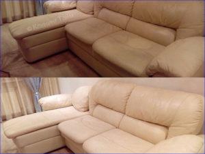 грязный и чистый диван из кожи