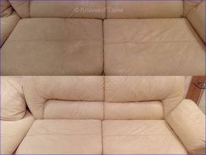 фото ДО и ПОСЛЕ химчистки белого дивана